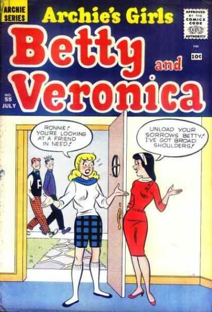 Archie's Girls Betty and Veronica 55 - Archie - Jughead - Red Dress - Sidewalk - Door