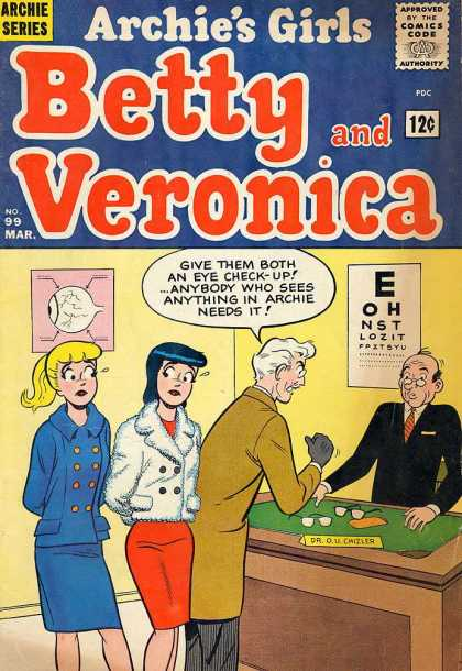 Archie's Girls Betty and Veronica 99 - Betty - Veronica - Archie - Man - Table