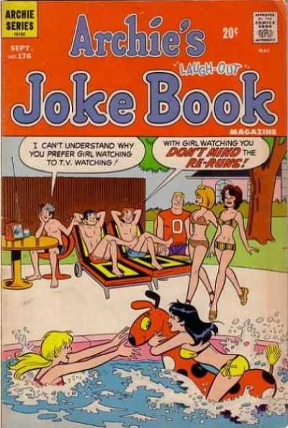 Archie's Joke Book 176 - Swimming Pool - Bikinis - Water - Table - Lounge Chairs