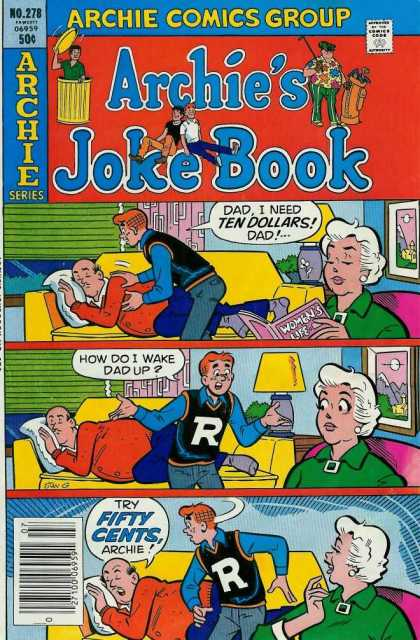 Archie's Joke Book 278 - Man Sleeping On Couch - Boy Trying To Wake Up Man - Woman Reading - Yellow Couch - Green Shades