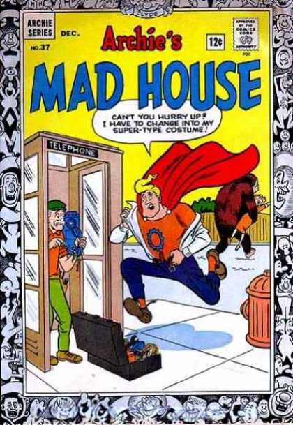 Archie's Madhouse 37 - Telephone Booth - Pay Phone - Repairman - Change - Toolbox
