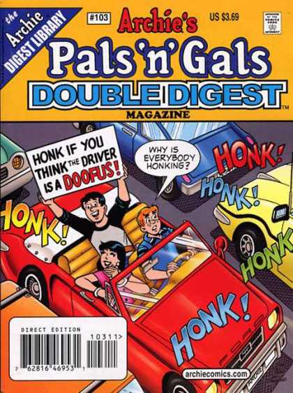 Archie's Pals 'n Gals Double Digest 103 - Honk - Sign - Automobile - Driving - Doofus