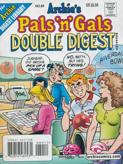 Archie's Pals 'n Gals Double Digest 89 - Bowling Ball - Hearts - Crown - Bowling Alley - Jughead