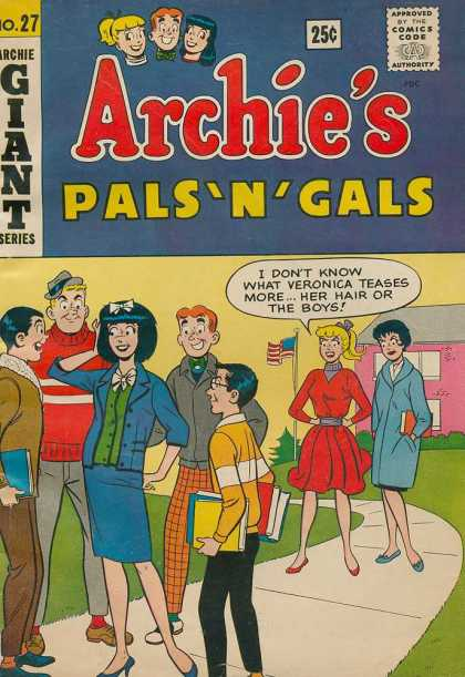 Archie's Pals 'n Gals 27 - Veronica - American Flag - Plaid Pants - School - Sidewalk