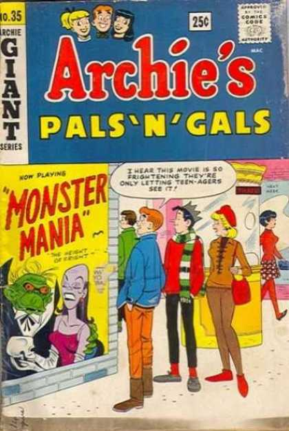Archie's Pals 'n Gals 35 - Poster - Monster Mania - Movie Theater - Box Office - Jughead
