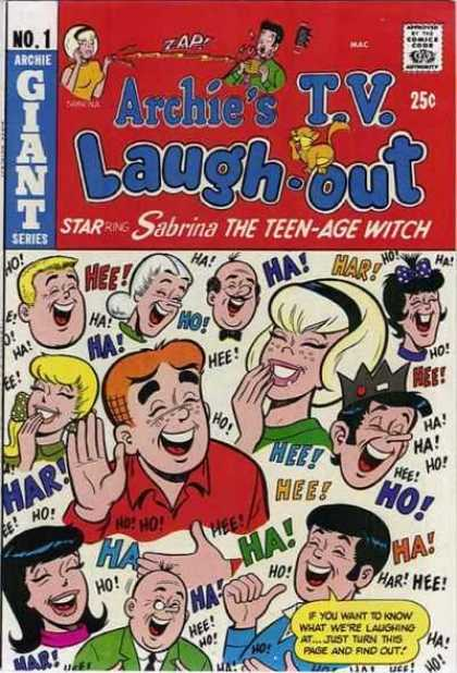 Archie's TV Laugh-Out 1 - Sabrina The Teen-age Witch - Comics Code Authority - 25 Cents - Speech Bubble - Laughter