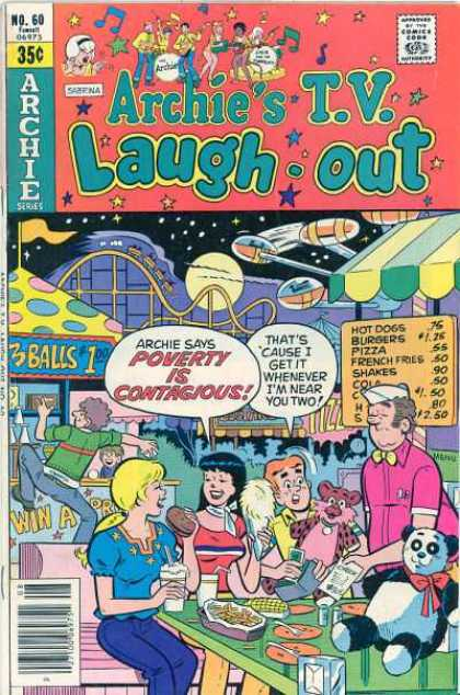 Archie's TV Laugh-Out 60 - Approved By The Comics Code - Man - Woman - Panda Toy - Poverty Is Contagious