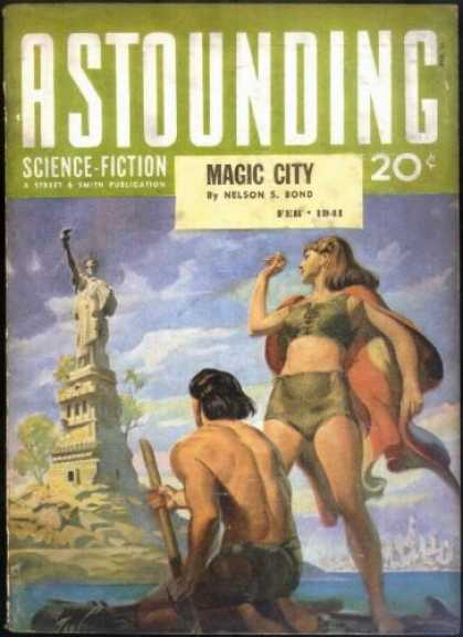 Astounding Stories 123 - Magic City - Statue Of Liberty - Ocean - Travelers - Island