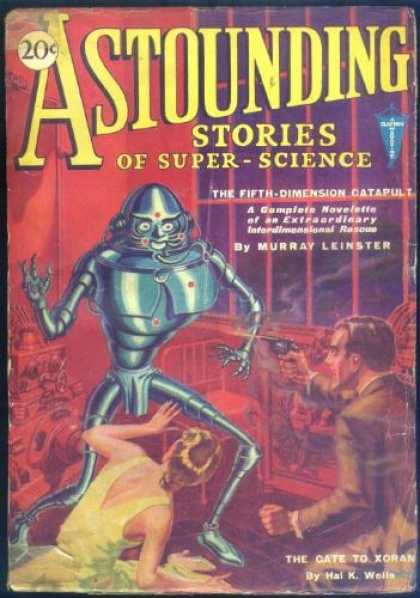 Astounding Stories 13 - Robot - Gun - The Fifth Dimension Catapult - Man - Woman