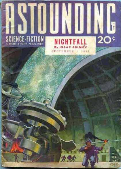 Astounding Stories 130 - Telescope - Stars - Fire - Humans Fleeing - Sky