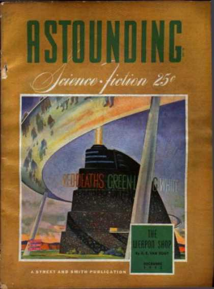 Astounding Stories 145 - The Weapon Shop - Building - Island - Bridge - People
