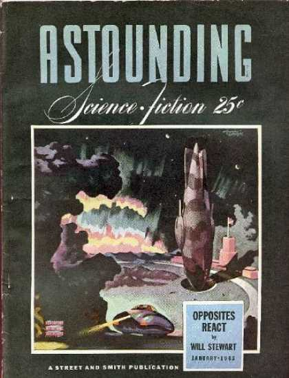 Astounding Stories 146 - Opposites React - Explosion - Smoke - Will Stewart - January 1985