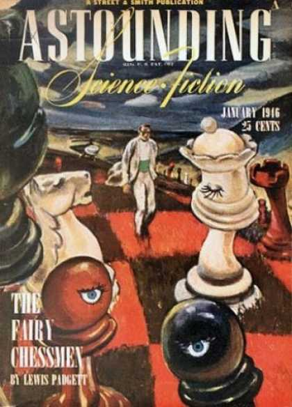 Astounding Stories 182 - January 1946 - Giant Chess Pieces - The Fairy Chessman - Padgett - Daliesque