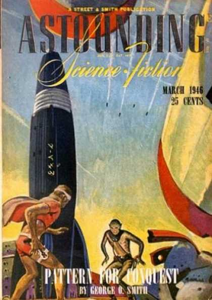 Astounding Stories 184 - Rocket - Monkey Faced Man - George O Smith - Normal Person - Gun In Hand