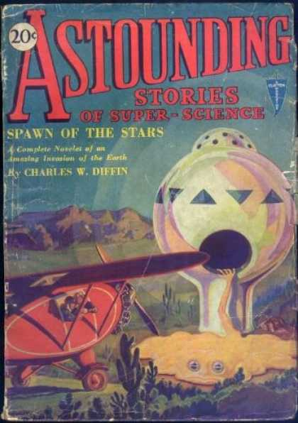 Astounding Stories 2 - Spawn Of The Stars - Canyon - Plane - Space Craft - Creature