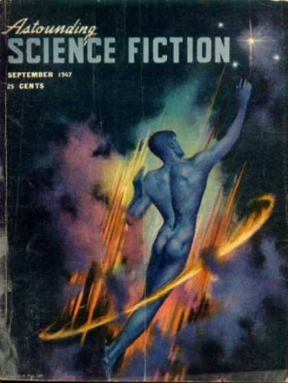 Astounding Stories 202 - September 1947 - 25 Cents - Blue Disrobed Man - Ring Of Fire - Watercolor