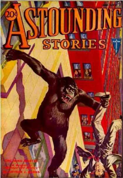 Astounding Stories 25 - The Mind And Master - Burks - King Kong - 20 Cents - Bright Cover