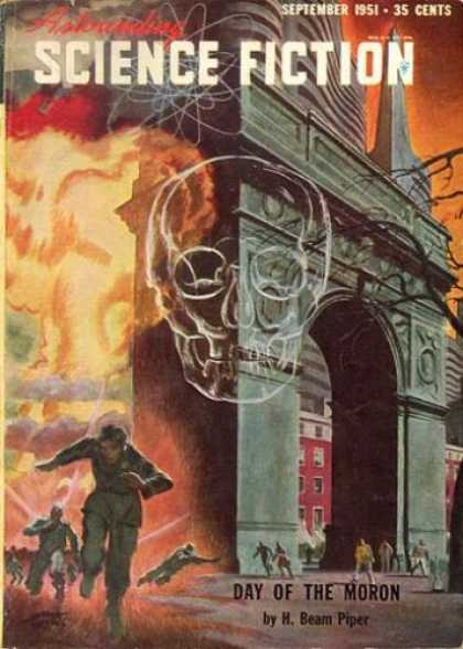 Astounding Stories 250 - September 1951 - Day Of The Moron - Skull - Building - Fire