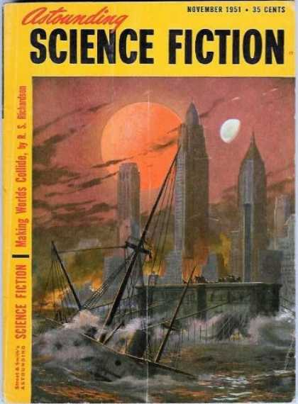 Astounding Stories 252 - Making Worlds Collide - November 1951 - Science Fiction - Sinking Ship - Crashing Waves