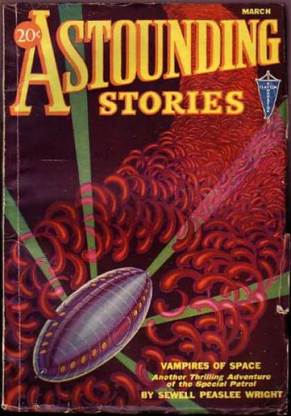 Astounding Stories 27 - March - Vampires Of Space - Blood Worms - Space Craft - Light Beams