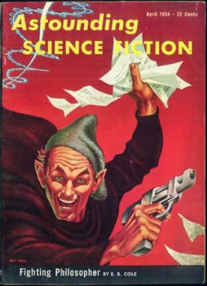 Astounding Stories 281 - Fighting Philosopher - Gun - April 1954 - Mad Man - Papers