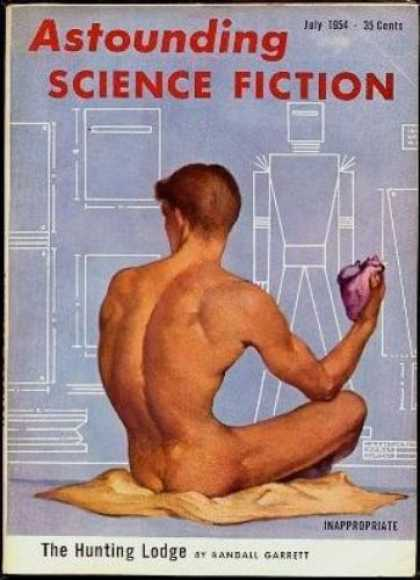 Astounding Stories 284 - July 1954 - The Hunting Lodge - Diagram - Nude Man - Cloth