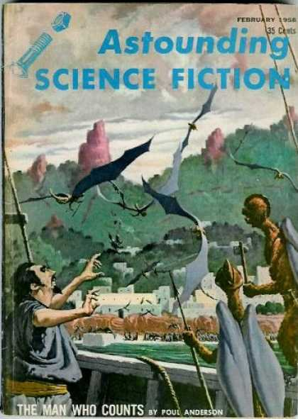 Astounding Stories 327 - February 1956 - The Man Who Counts - Town - Bats - Humanoids