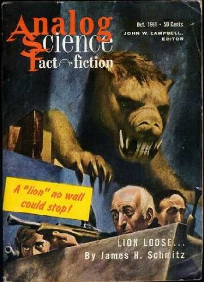 Astounding Stories 371 - A Lion No Wall Could Stop - October 1951 - Fangs - Lion Loose - Guns