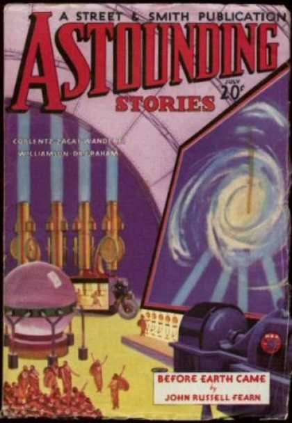 Astounding Stories 44 - Before Earth Came - Lab - Monitor - Galaxy - People