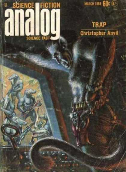 Astounding Stories 460 - Trap - March 1969 - Hairy Man - Gun - Bullet Belt