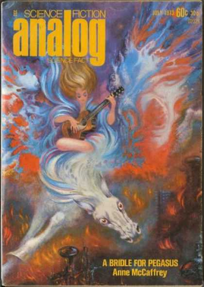 Astounding Stories 512 - Guitar - July 1973 - A Bridle For Pegasus - Woman - White Horse