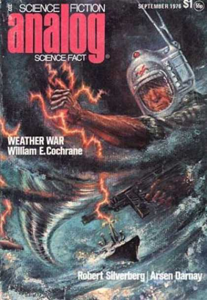 Astounding Stories 550 - September 1976 - Weather Way - Hurricane - Ship - Gun