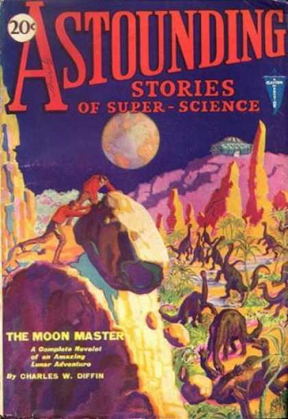 Astounding Stories 6 - Dinosaurs - Boulder - Earth - Looking Back At Earth - Survival