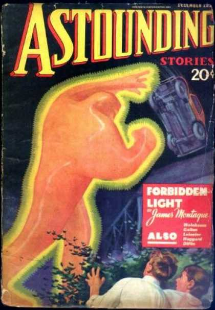 Astounding Stories 61 - Vintage - 20 Cents - Forbidden Light - Flipped Car - Glowing Monster