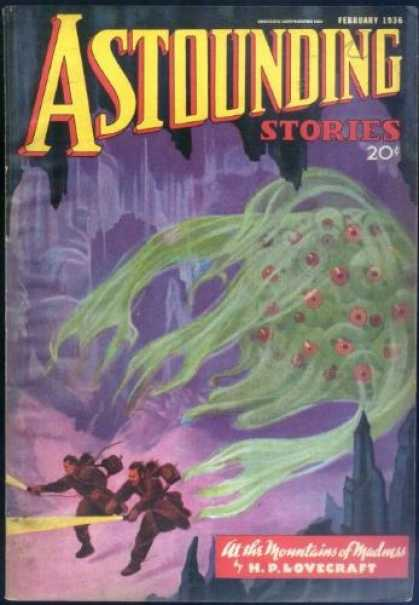 Astounding Stories 63 - In The Mountains Of Madness - February 1936 - Green Alien - Cave - Explorers