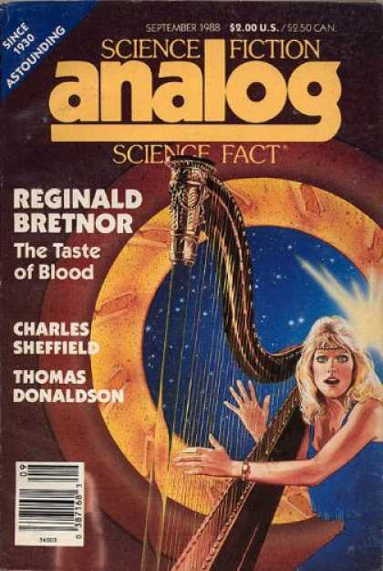 Astounding Stories 701 - September 1988 - Girl Playing Harp - Author Charles Sheffield - Author Thomas Donaldson - Article The Taste Of Blood