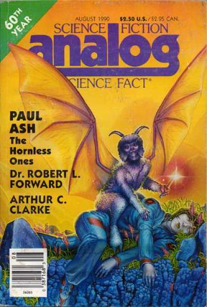 Astounding Stories 726 - August 1990 - The Hornless Ones - Bat Creature - Human - Uniform