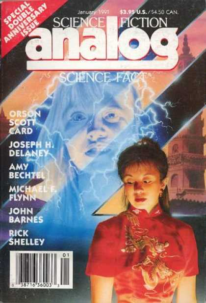 Astounding Stories 732 - Orson Scott Card - January 1991 - Double Issue Anniversary - Delaney - Flynn