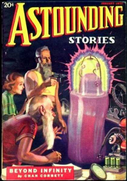 Astounding Stories 74 - January - Beyond Infinity - Chan Corbett - Beards - Gun