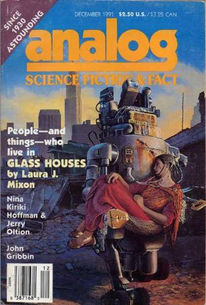 Astounding Stories 743 - Woman - Glass Houses - December 1991 - Robot - Rubble