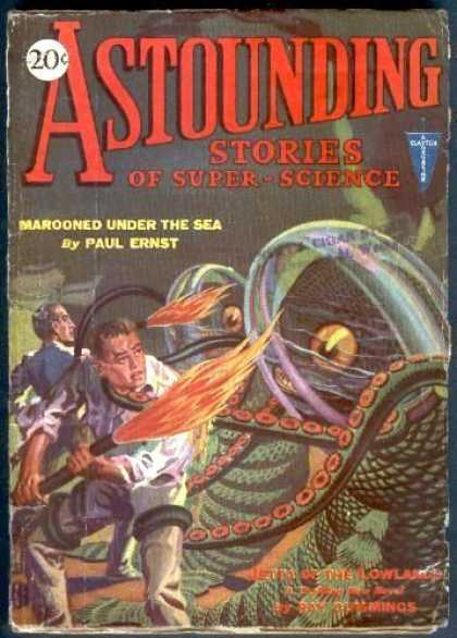 Astounding Stories 9 - Marooned Under The Sea - Ernst - 20 Cents - Octopus - Tentacles
