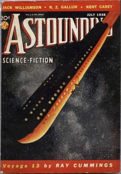 Astounding Stories 92 - July 1938 - Spaceship - Science Fiction - Voyage 13 - Ray Cummings