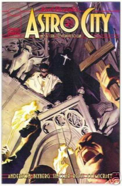 Astro City 6 - Wooden Cross - Winged Statue - Church - Torches - Men