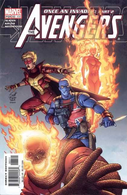 Avengers (1998) 83 - Once An Invader Part 2 - Flaming Woman - Flaming Skull - Union Jack Outfit - Woman In Red And Yellow Outfit - Scott Kolins