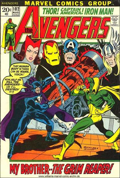 Avengers 102 - Captain America - Iron Man - Marvel Comics - My Brother The Grim Reaper - Kill The Avengers - Joe Sinnott, Richard Buckler