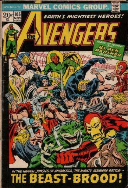Avengers 105 - Marvel - Battle - Sword - Earths Mightiest Heroes - The Beast-brood - John Buscema