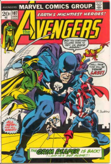 Avengers 107 - Marvel - Earths Mightiest Heroes - Grim Reaper - Red - Yellow - Richard Buckler