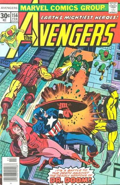 Avengers 156 - Marvel Comics Group - Earths Mightiest Heroes - Ironman - Captain America - Dr Doom - Jack Kirby