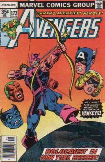 Avengers 172 - Marvel Comics Group - Earths Mightiest Heroes - Bow And Arrow - Holocaust In New York Harbor - Avengers - George Perez