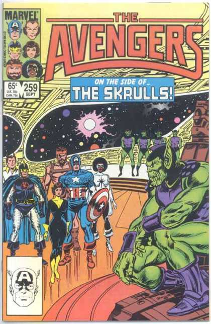Avengers 259 - On The Side Of The Skrulls - Captain America - Outer Space - Ufo - Comic Teams - John Buscema